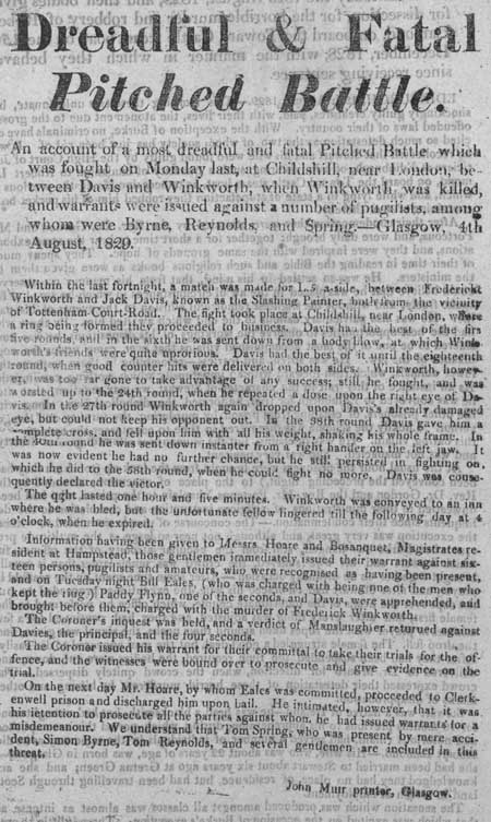 Broadside entitled 'Dreadful and Fatal Pitched Battle'