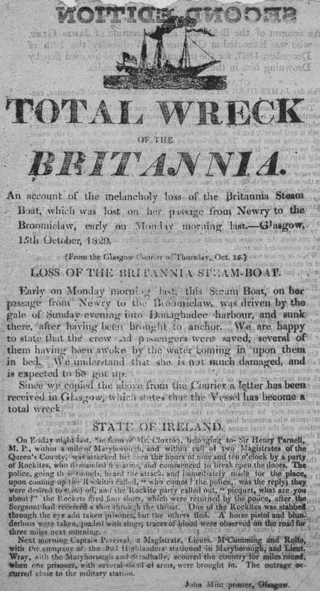 Broadside entitled 'Total Wreck of the Britannia'