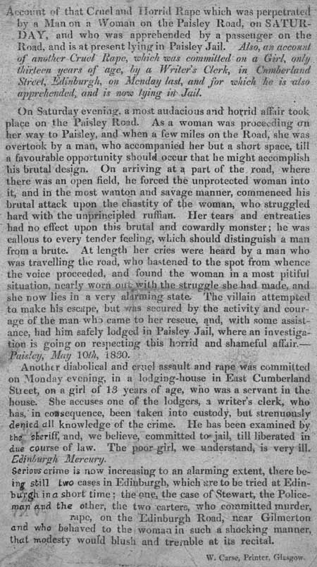 Broadside reporting two separate cases of rape, in Paisley and Edinburgh, 1830