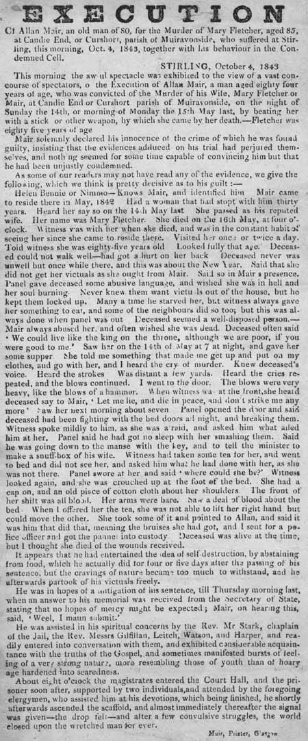 Broadside entitled 'Execution of Allan Mair'.