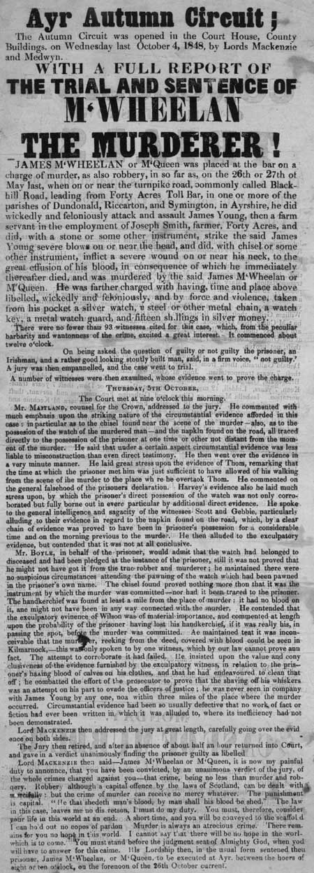 Broadside concerning the proceedings of the Circuit Court of Justiciary, Ayr