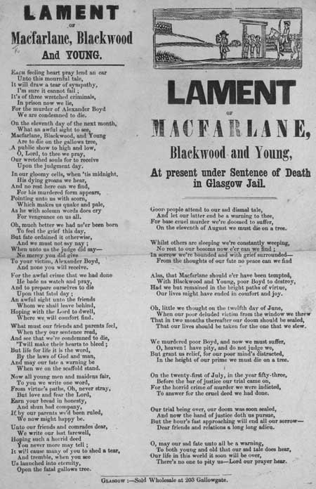 Broadside entitled 'Lament of Macfarlane, Blackwood and Young'
