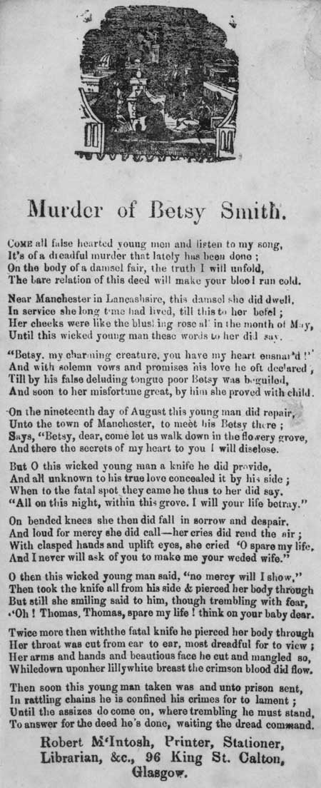 Broadside entitled 'Murder of Betsy Smith'