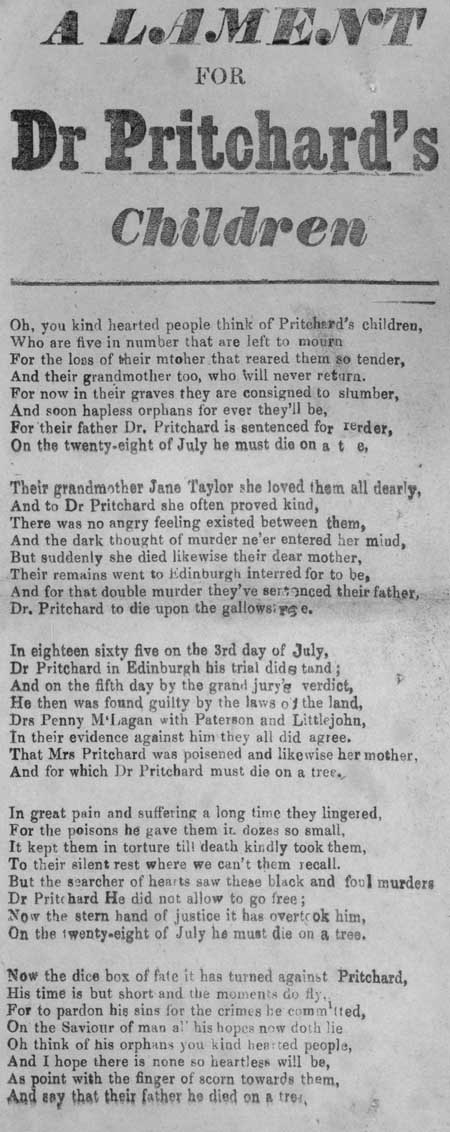 Broadside entitled 'A Lament for Dr Pritchard's Children'