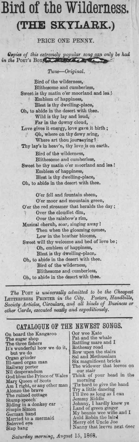 Broadside ballad entitled 'Bird of the Wilderness (The Skylark)'