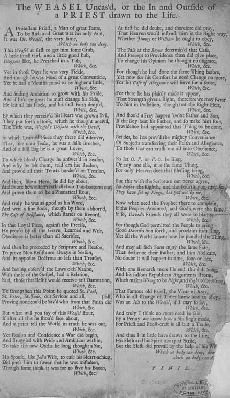 Broadside ballad entitled ' The Weasel Uncas'd, or the In and Outside of a Priest Drawn to the Life'