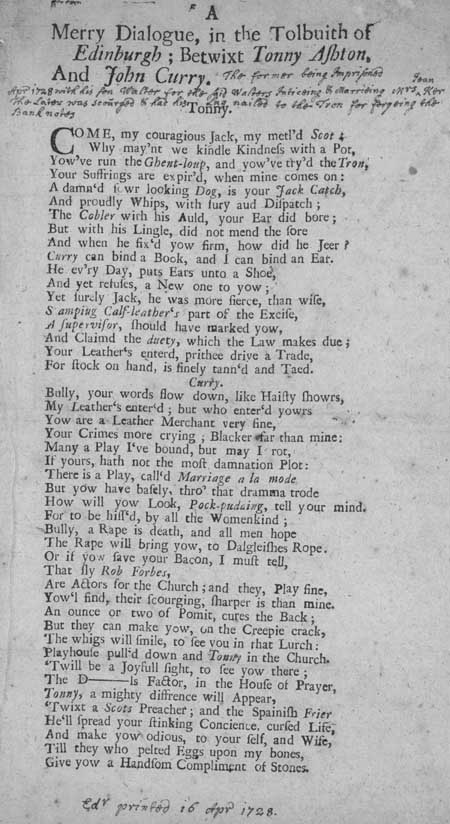 Broadside ballad entitled 'A Merry Dialogue, in the Tolbuith of Edinburgh; Betwixt Tonny Ashton, and John Curry'