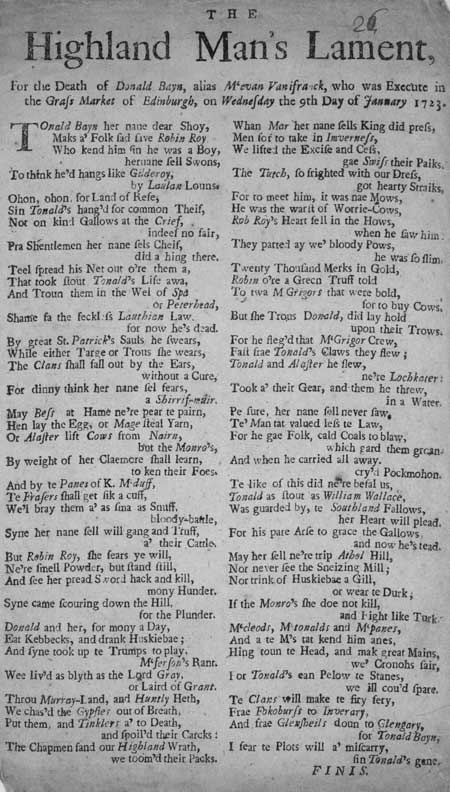 Broadside entitled 'The Highland Man's Lament'