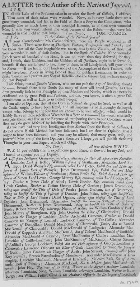 Broadside entitled 'A Letter to the Author of the National Journal'