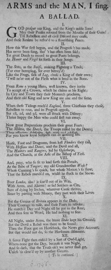 Broadside ballad entitled 'Arms and the Man, I Sing'