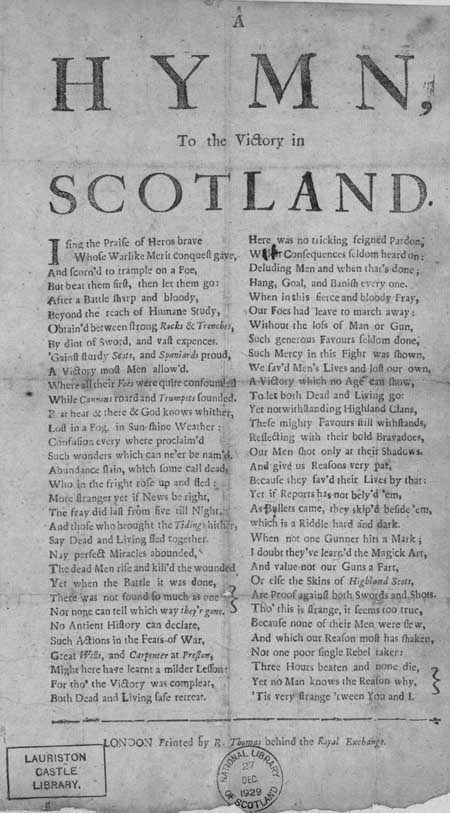 Broadside ballad entitled 'A Hymn, to the Victory in Scotland'