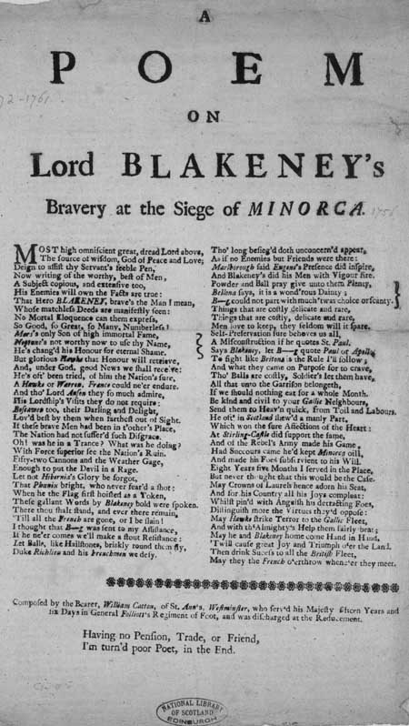 Broadside entitled 'A Poem on Lord Blakeney's Bravery at the Siege of Minorca'