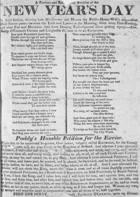 Broadside concerning New Year's Day in Edinburgh, incorporating 'The Daft-days' by Robert Fergusson