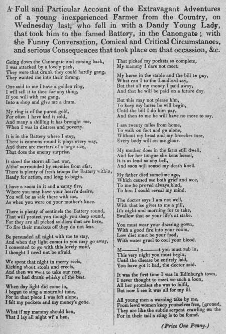 Broadside regarding a young farmer's adventures with a dandy young lady