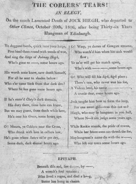Broadside entitled 'The Coblers' Tears!'