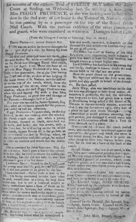 Broadside story concerning a stolen kiss from Miss Peggy Prudence in the town of St. Ninian's