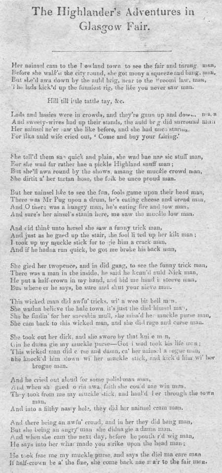 Broadside ballad entitled 'The Highlander's Adventures in Glasgow Fair'