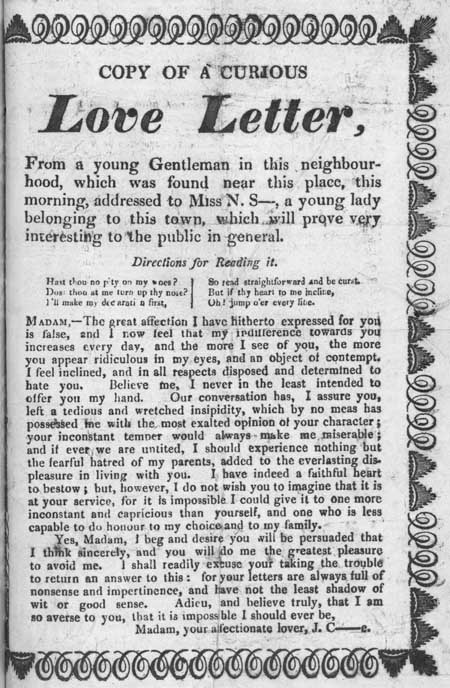 Broadside entitled 'Copy of a Curious Love Letter'
