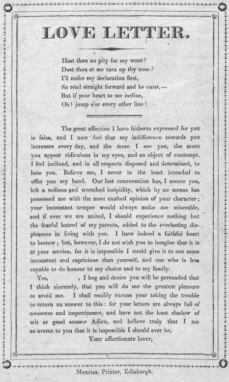 Broadside entitled 'Love Letter'