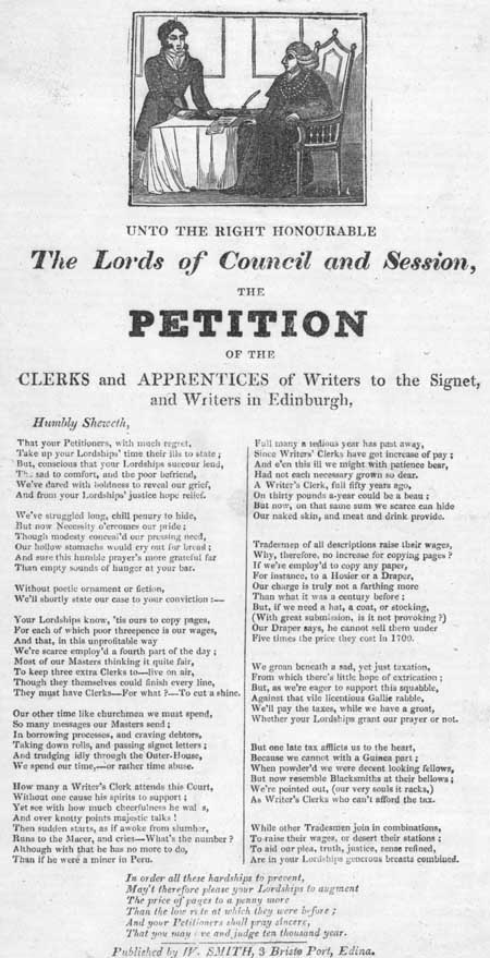 Broadside regarding a petition of the clerks and apprentices of Writers to the Signet