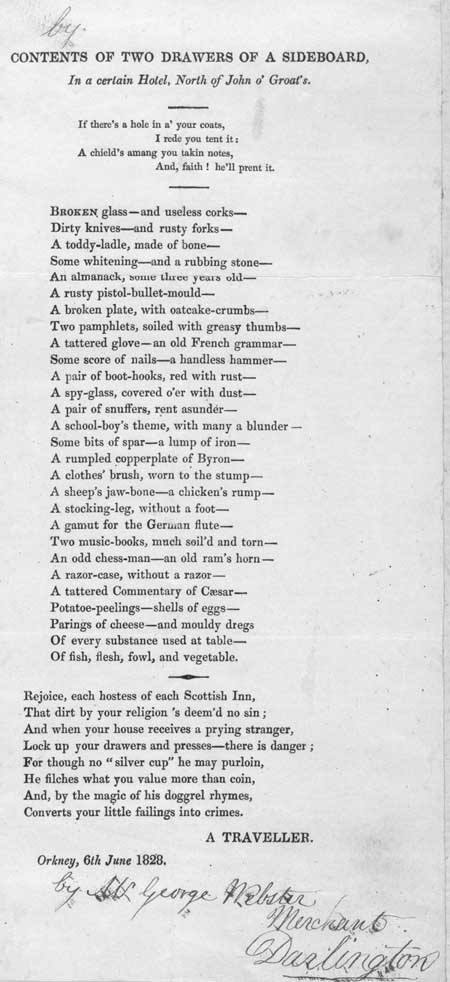 Broadside regarding the contents of a sideboard