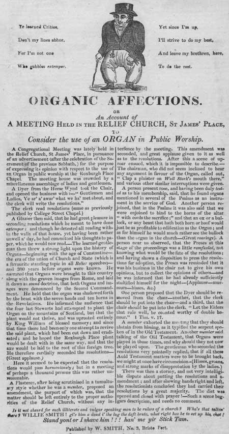 Broadside detailing a meeting regarding the use of an organ in public worship