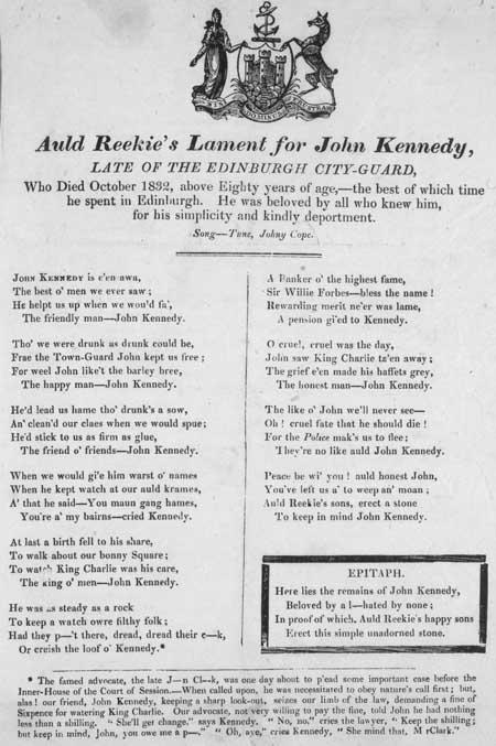 Broadside lamenting the death of John Kennedy