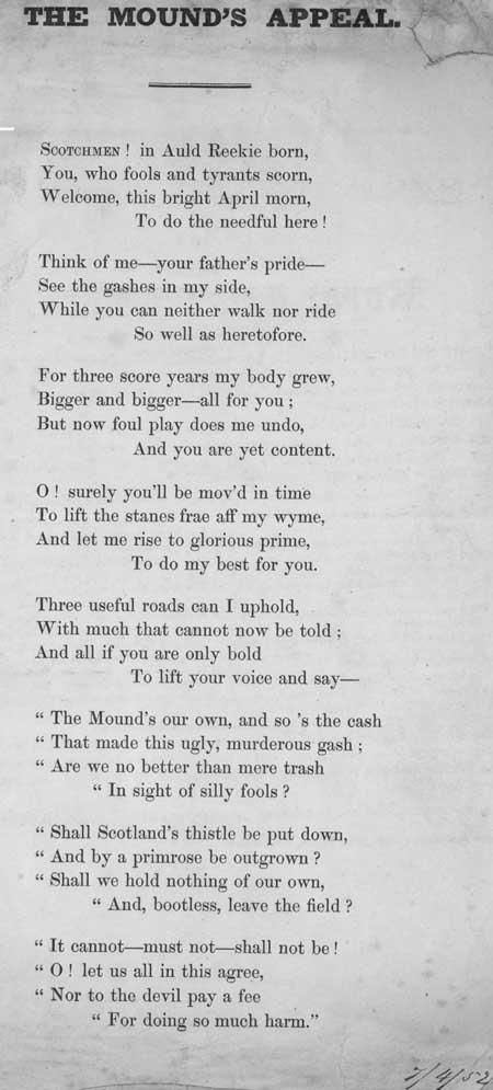 Broadside ballad entitled 'The Mound's Appeal'