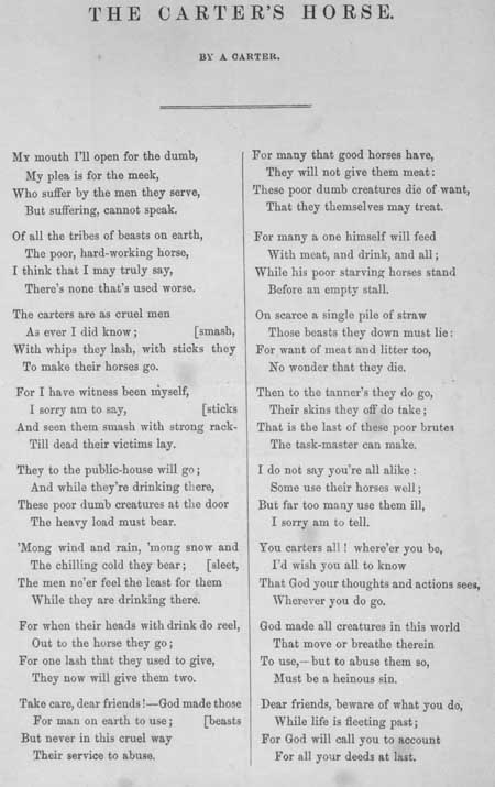 Broadside ballad entitled 'The Carter's Horse'
