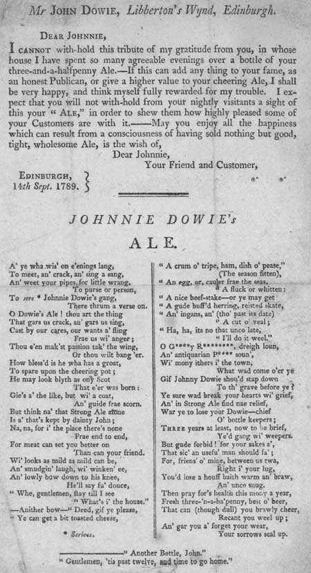 Broadside entitled 'Mr John Dowie'