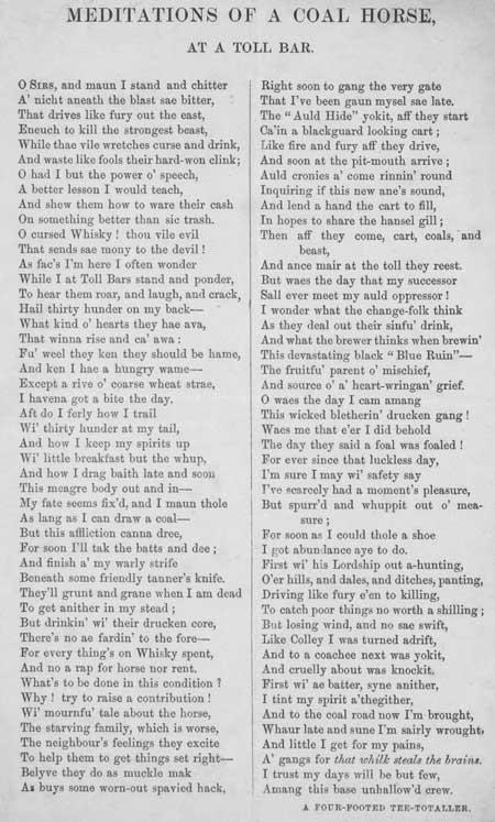 Broadside ballad entitled 'Meditations of a Coal Horse at a Toll Bar'
