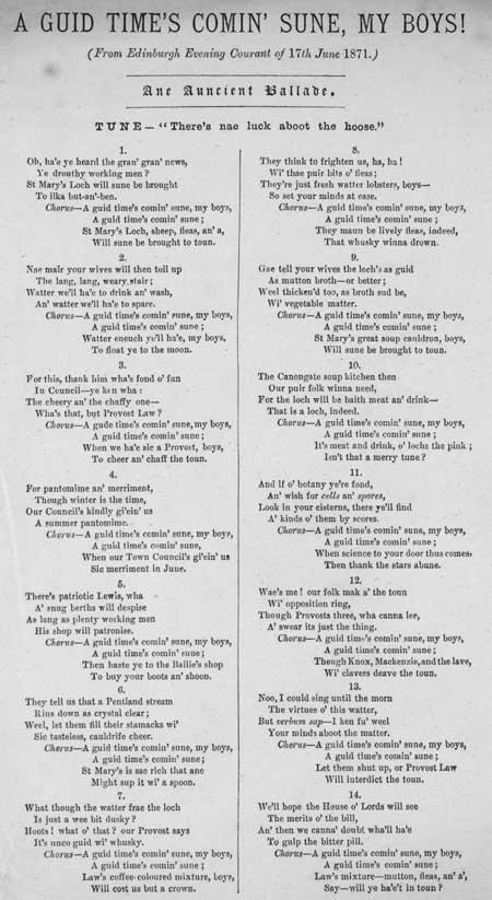 Broadside ballad entitled 'A Guid Time's Comin' Sune, My Boys!'