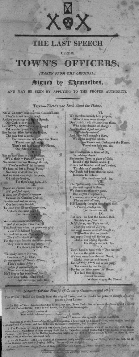 Broadside ballad entitled 'The Last Speech of the Town's Officers'