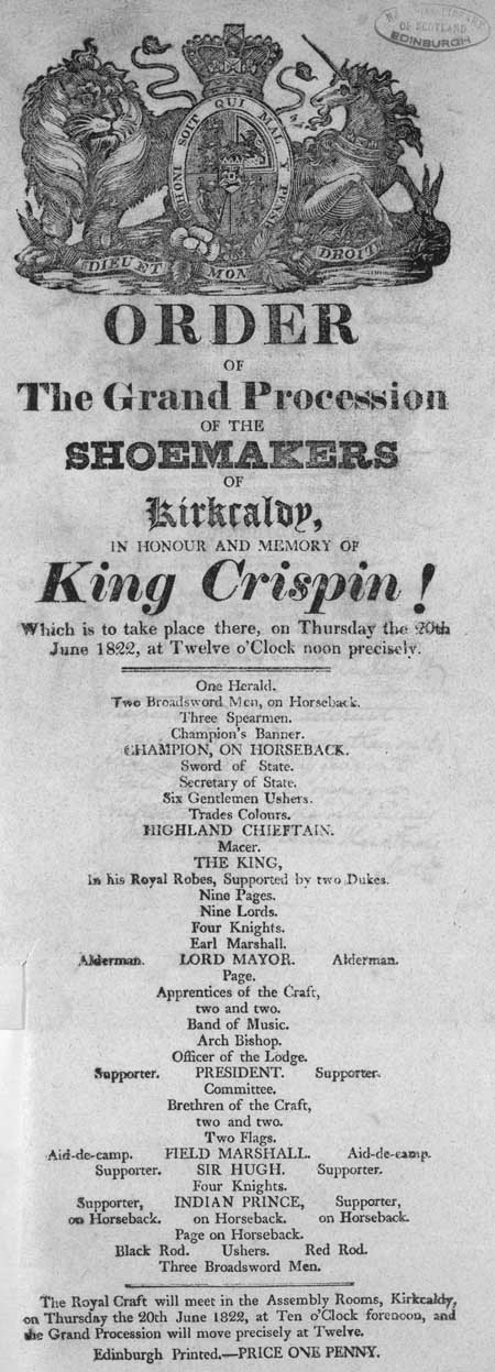 Broadside entitled 'Order of the Grand Procession of the Shoemakers of Kirkcaldy, in Honour and Memory of King Crispin !'
