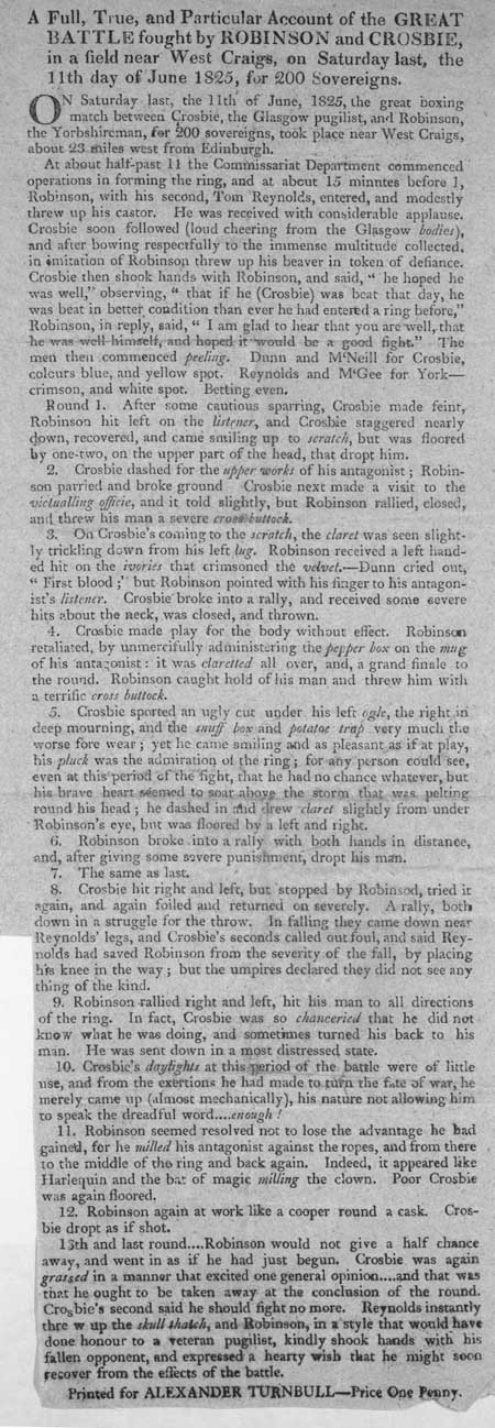 Broadside regarding the boxing match between Robinson and Crosbie