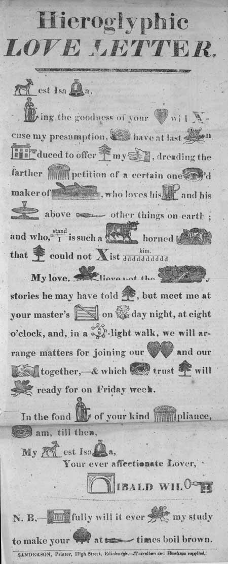 Broadside entitled 'Hieroglyphic Love Letter'