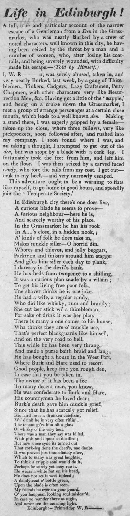 Broadside entitled 'Life in Edinburgh!'