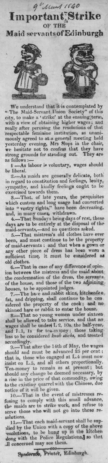 Broadside entitled 'Important Strike of the Maid Servants of Edinburgh'