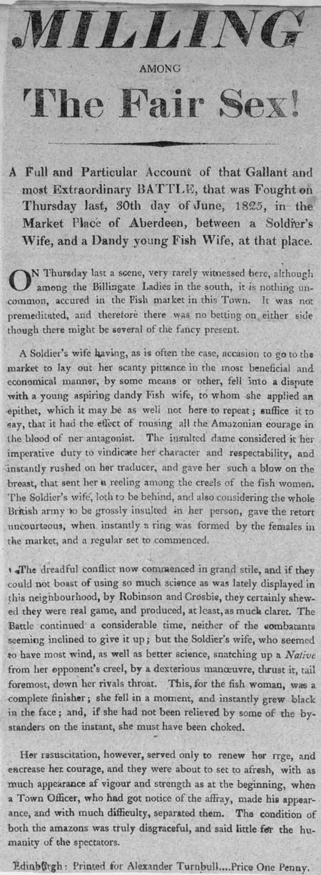 Broadside entitled 'Milling Among the Fair Sex!'