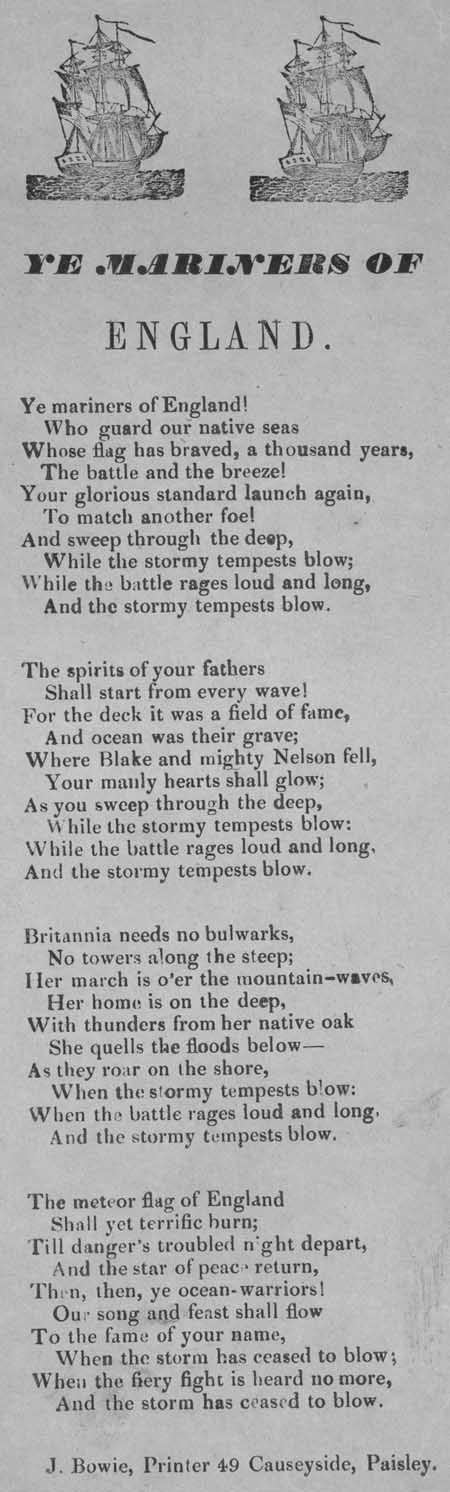 Broadside ballad entitled 'Ye Mariners of England'