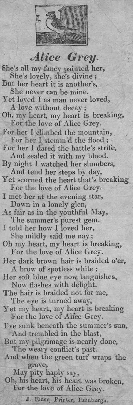 Broadside ballad entitled 'Alice Grey'