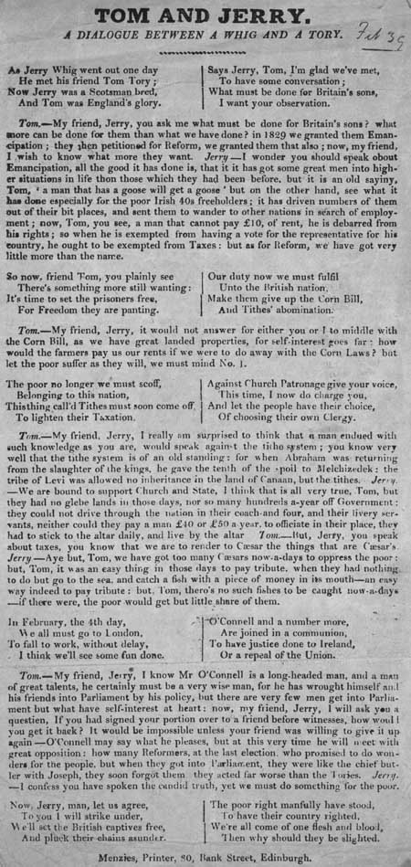 Broadside entitled 'Tom and Jerry, a dialogue between a Whig and a Tory'