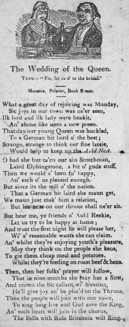 Broadside ballad entitled 'The Wedding of the Queen'