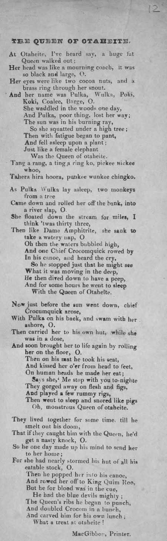 Broadside ballad entitled 'Queen of Otaheite'