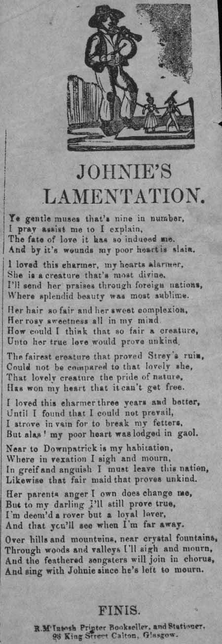 Broadside ballad entitled 'Johnie's Lamentation'