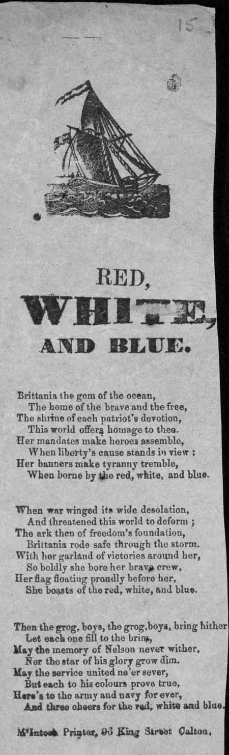 Broadside ballad entitled 'Red, White and Blue'