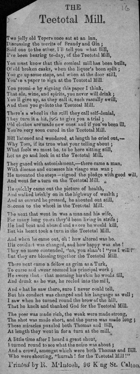 Broadside ballad entitled 'The Teetotal Mill'