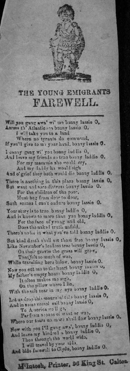 Broadside ballad entitled: 'The Young Emigrant's Farewell'