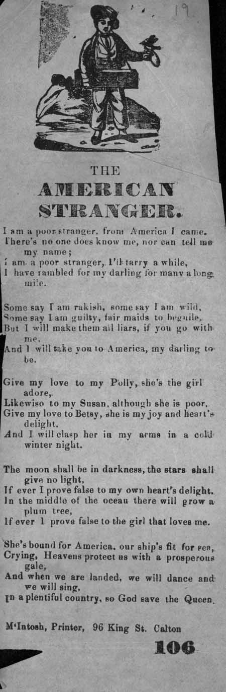 Broadside ballad entitled 'The American Stranger'