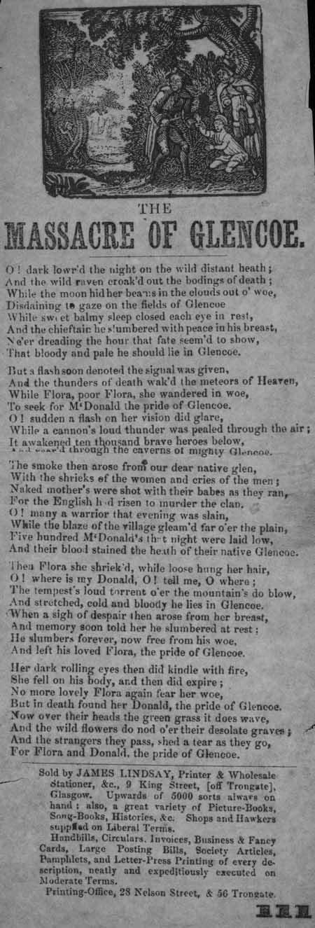 Broadside ballad entitled 'The Massacre of Glencoe'